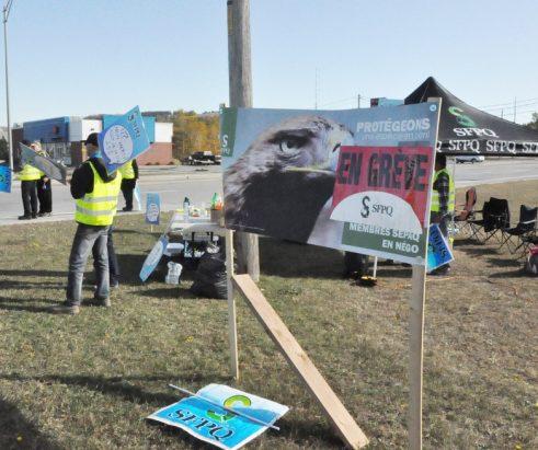 Les employés du Parc national de la Gaspésie manifestent
